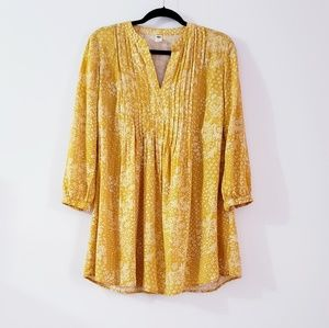 Old Navy Mustard Floral V-neck Long Sleeves Tunic